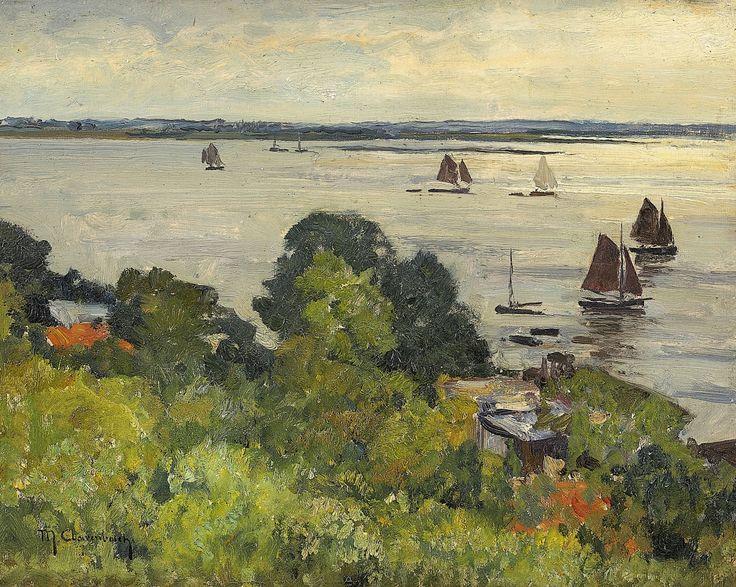 Max Clarenbach, ELBANSICHT BEI BLANKENESE, Auktion 985 Gemälde des 15. - 19. Jh., Lot 77
