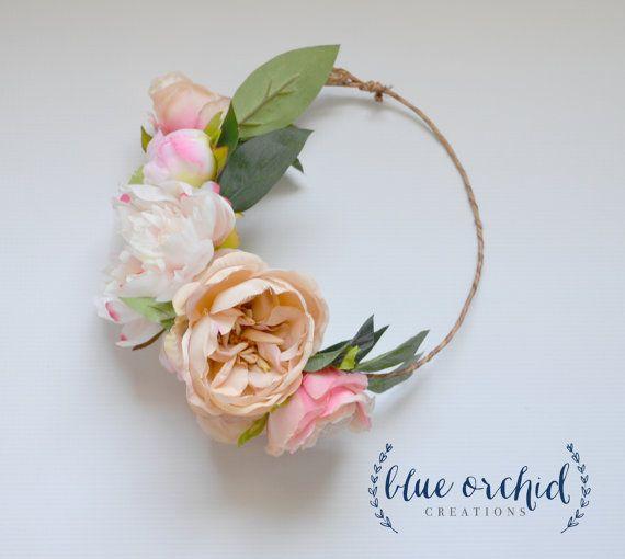 Peony Flower Crown, Boho Wedding, Garden Roses, Blush Flower Crown, Floral Crown, Flower Head Piece, Flower Hair Accessory, Wedding Crown