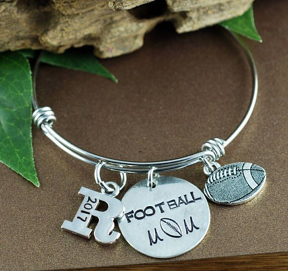 Football Mom Bracelet, Personalized Sports Bracelet, Mom Jewelry, Mothers Day Gift, Initial Bracelet, Football Jewelry, Team Mom Gift
