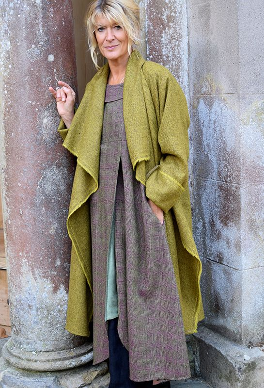 New Edy Jacket, mustard herringbone wool £335, (over Palma Dress) other colours available.