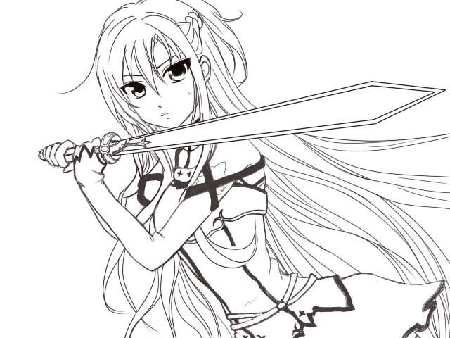 Image Result For Coloring Girl Chibi Warrior Online Coloring Pages Sword Art Online Asuna Cat Coloring Page