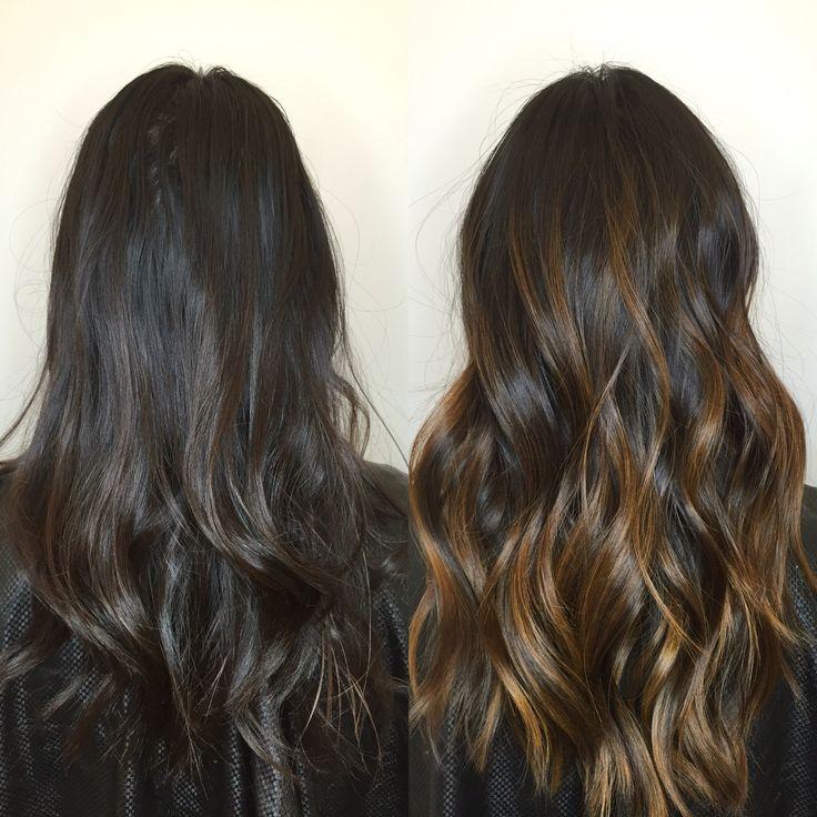Golden balayage/hair painted highlights on long hair❤️