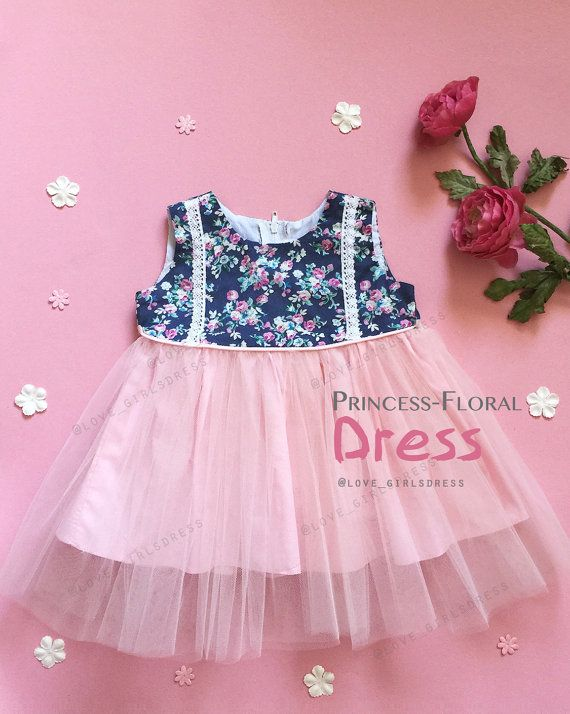 New Floral Princess Tulle Dress baby tulle dress Light pink