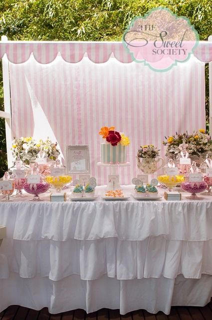 Such a pretty display at a Garden party!   See more party ideas at CatchMyParty.com!  #partyideas