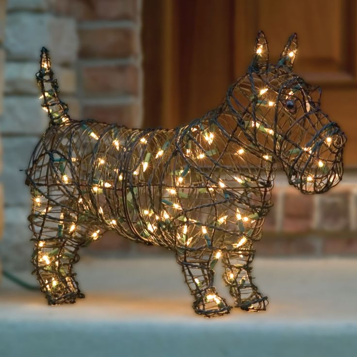 I'm so excited to display our illuminated Steel Frame Scottie Dog Sculpture that I purchased from Campbell's Scotties.