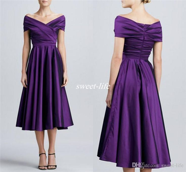 Purple Tea Length Mother of the Bride Dresses with Short Sleeves 2016 Off…