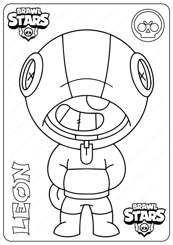 Printable Brawl Stars (Leon) PDF Coloring Pages, 2020