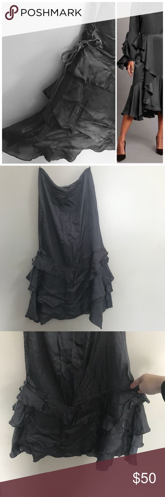 "Per Una Viscose Ruffle Skirt NWOT Silvered Grey with tiered ruffles asymmetrically around the bottom. Velvet bow tie accents at the edge. Absolutely gorgeous and never worn. Size 10 regular  15"" waist  33"" length Marks & Spencer Skirts Asymmetrical"