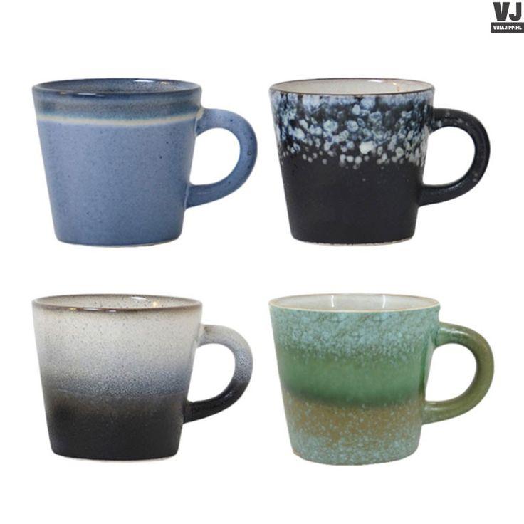 HK living online webwinkel, gratis verzenden HK-living keramieken 70's cappuccino mokken (set van 4) 12x9,5x8,5cm by Villa Jipp