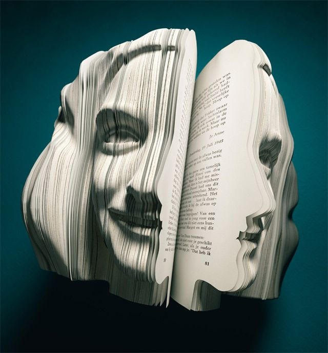 Facebook like you've never seen it before... Peek-a-boo!: Book Art, Written Portraits, Book Sculpture, Faces, Bookart, Book Weeks, Paper Art, Anne Frank, Annefrank