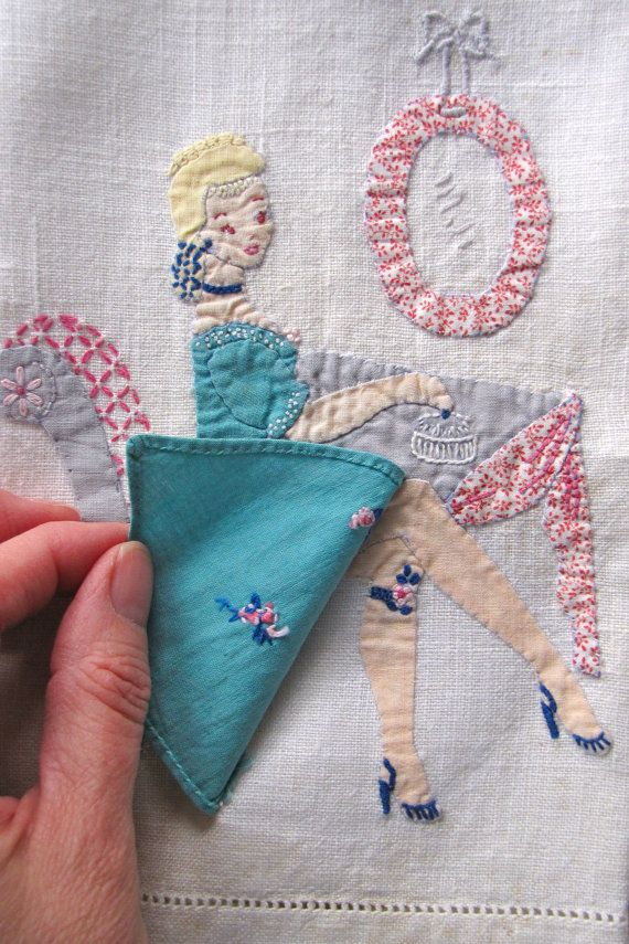 Vintage Linen Towel Appliqued Embroidered Woman Dressing Table Risque