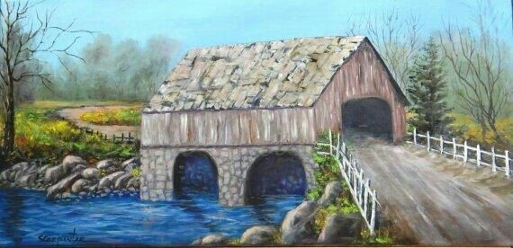 Old 1800's Bridge House Scenic Landscape Oil by JellyBeanJump