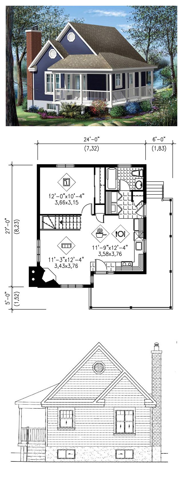 tiny micro house plan 49824 total living area 613 sq ft - Large Living Room House Plans