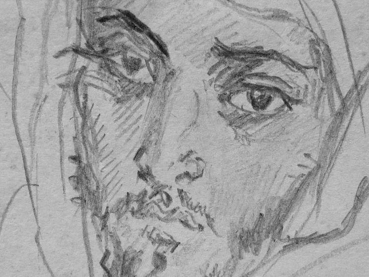 CHASSERIAU Théodore,1846 - Deux Arabes assis - drawing - Détail 12 - Dignité triste - Sad dignity -