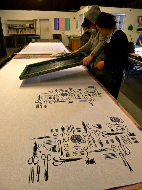 Vicki Printing her fabric length!