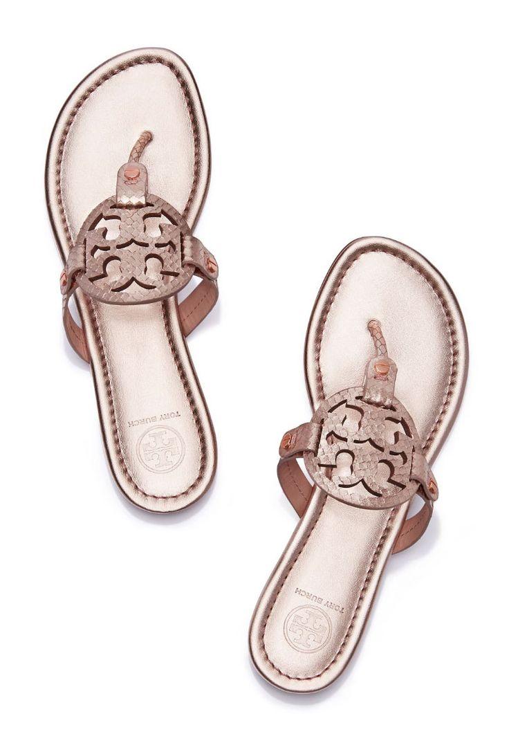 tory burch miller sandal in metallic snake skin