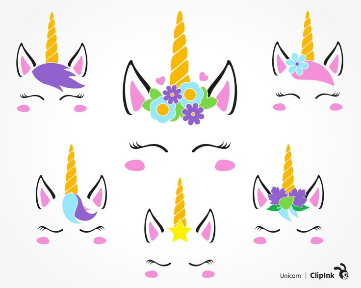 6 Color And 6 Black Silhouette Versions Of Unicorn Face