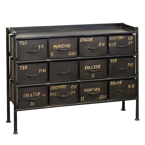 Best Iron 12 Drawer Chest Black Industrial Home Offices 640 x 480