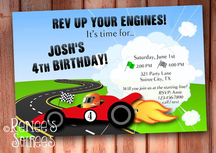 Racing Car Invitations   Google Search