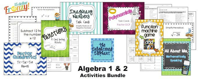 Algebra and Algebra 2 Activities Bundle This bundle includes task cards, games and card sorting activities for several Algebra 1 & 2 concept that include factoring polynomials, functions, imaginary numbers and intercepts and lines.  These activities will make great for extra practice on these skills that is engaging, great self-assessments, great stations, and/or great test prep.