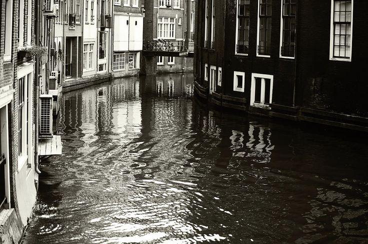 Rhythms Of Amsterdam Reflections. Black And White by Jenny Rainbow    #JennyRainbowFineArtPhotography #Amsterdam #Netherlands #Holland #FineArtPrints #ArtForHome #HomeDecor #Reflections