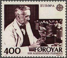 Faroe Islands postage stamp commemorating Fleming