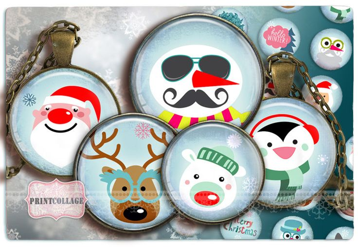 Digital Collage Sheet - Winter- Cabochon images 1.5inch 18mm 14mm 1inch circle Printable images Instant download bottle caps c149 - pinned by pin4etsy.com
