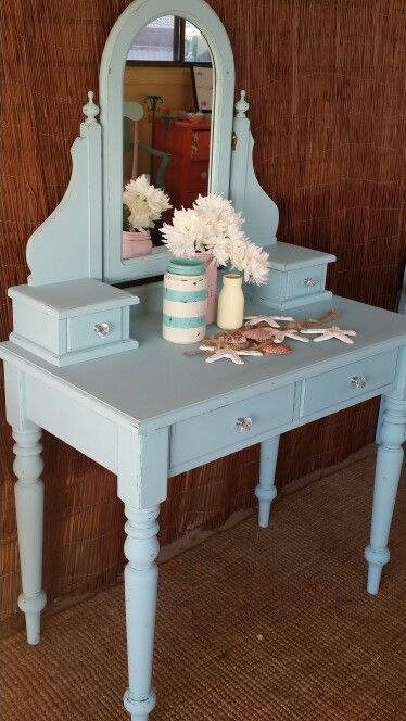 Dressing table has been upcycled using Dixie Belle Mineral Chalk Paints in a mixture of colours Dixie Belle Blue, Fluff and Sea Glass. Finished with the new Easy Peasy wax. Completed by Shomai Bloom. www.shomaibloom.com.au