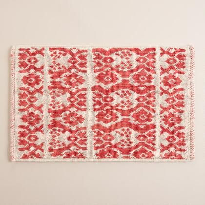 A woven diamond design in warm coral coloring with plush cotton chenille pile makes our exclusive bath mat a perfect option for refreshing your bathroom look.