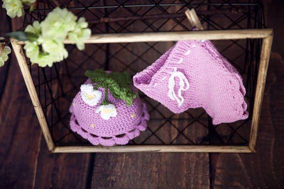 knit newborn baby girl little pink flower outfit-newborn