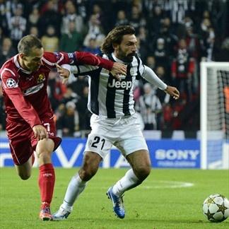 Andrea Pirlo, Juventus & Nicolai Stokholm, Nordsjaelland. | FC Nordsjaelland 1--1 Juventus. 23.10.12.