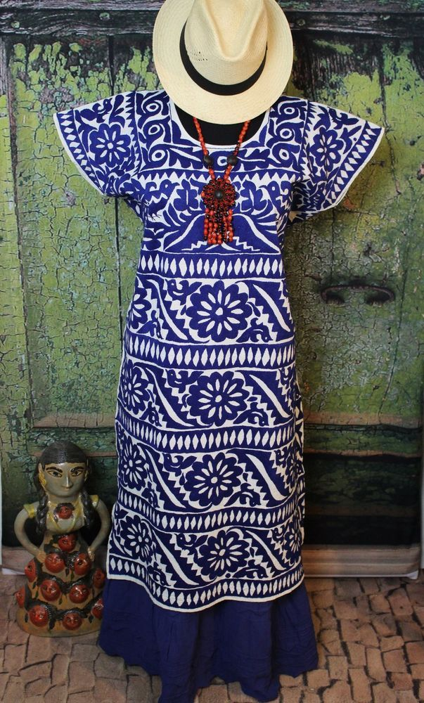 Blue & Cream Color Gala Huipil Hand Embroidered Jalapa Mexico Cowgirl Santa Fe #Handmade #HuipilMexicanDress