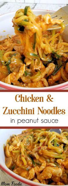 Chicken & Zucchini Noodles in Peanut Sauce - Stir Fry Recipe