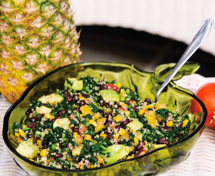 Caribbean Quinoa Bowl from Plant Pure Nation via Kim's Welcoming Kitchen.