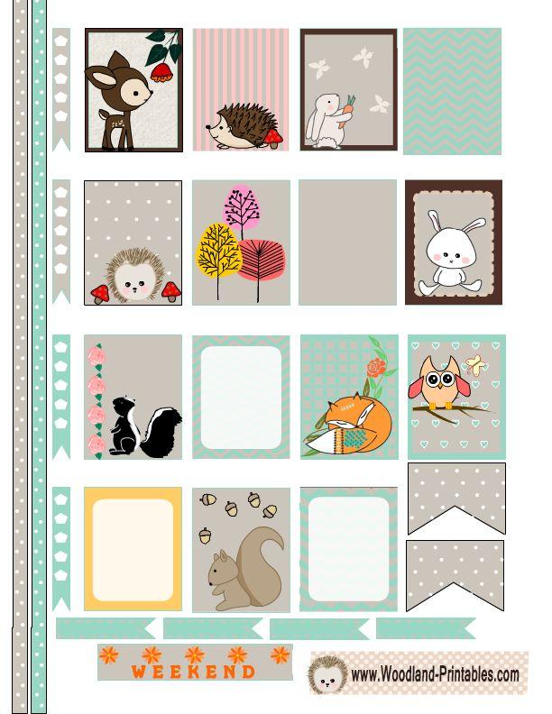 Free Printable Woodland Animals Planner Stickers