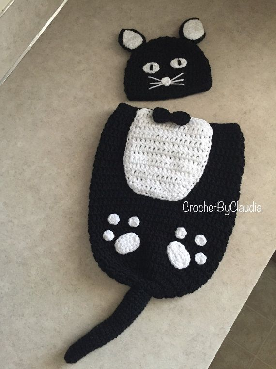 Crochet Fancy Black Kitty Beanie and Cocoon by CrochetByClaudia