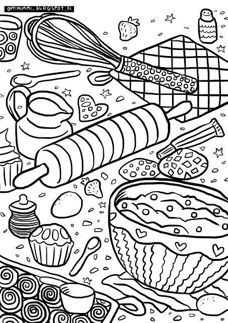 OPTIMIMMI | A free coloring page about baking / Ilmainen värityskuva leipomisesta