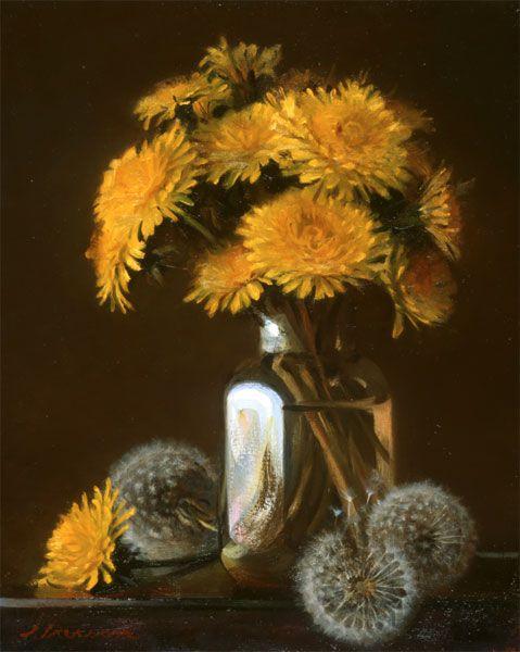 """Jeffrey T. Larson Dandelion Bouquet oil on panel 10x8"""" 2004"""