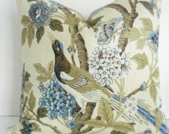 Richloom-Linen- Decorative Pillow Cover WHIPPOORWILL-BLUE HEAVEN-  Navy- Blues - Teal Brown- Sage Green - Ivory Throw / Lumbar Pillow