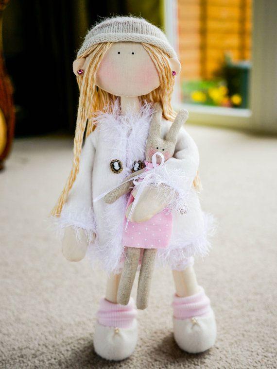 Rag Doll Bella and Her Rabbit Cloth Doll Home Decor by MintyClub