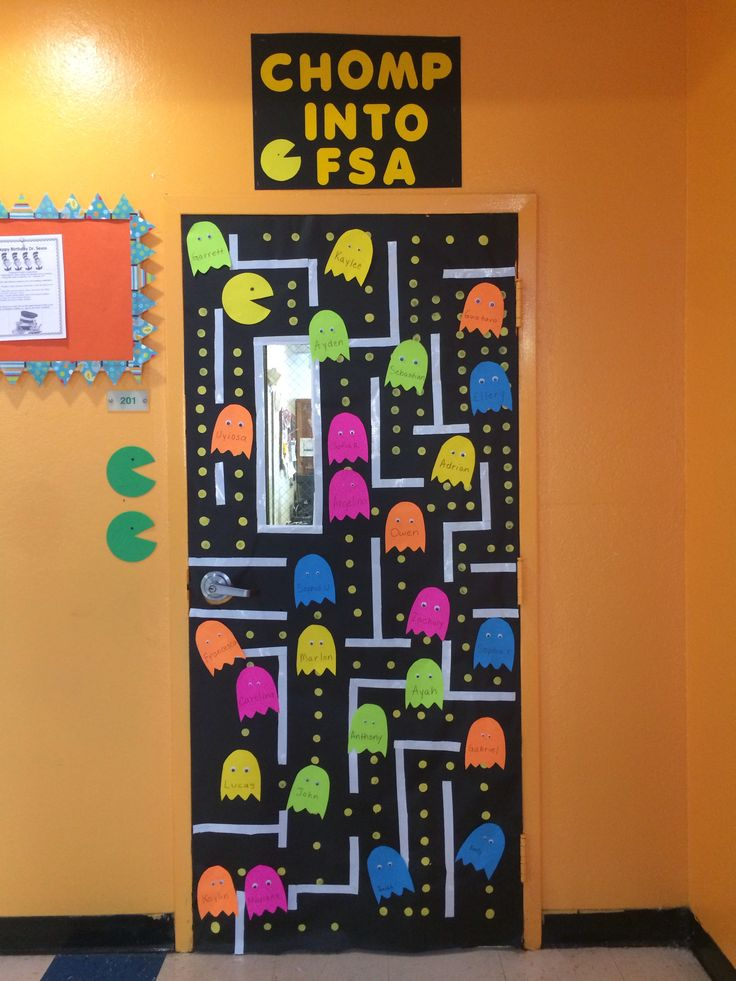 Classroom Decoration Ideas Xbox One ~ State testing classroom door pacman video game doors i