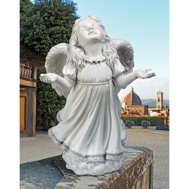 Lovely Arms Outstretched, Cherubic Angel Sculpture Lifts Face In A Pure And Joyful  Celebration Sculpted With
