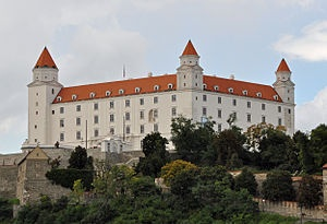 Bratislava Castle stands on a hill above the capital city.