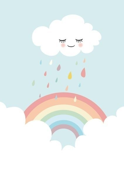 Poster Wolk en regenboog A4