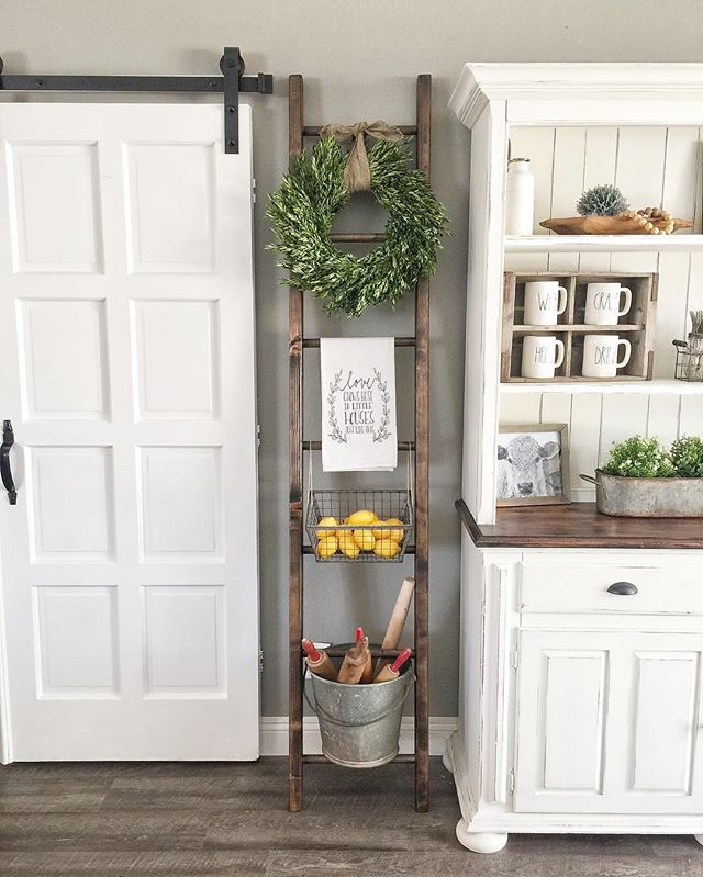 Hi friends! I have a new addition to my dining room and I am in LOVE! This ladder is handmade locally and the price is SO reasonable! They come in many sizes and finishes. The maker doesn't have an IG account yet so if you want their info, send me a dm Doesn't my flour sack towel from @b.rosie_71 look perfect there? . #interiordesign #farmhousedecor #countryliving #countrycottage #farmhousestyle #farmhousestyling #designsbyashleyknie #modernfarmhouse #vintagefarmhouse #homedesign #decor