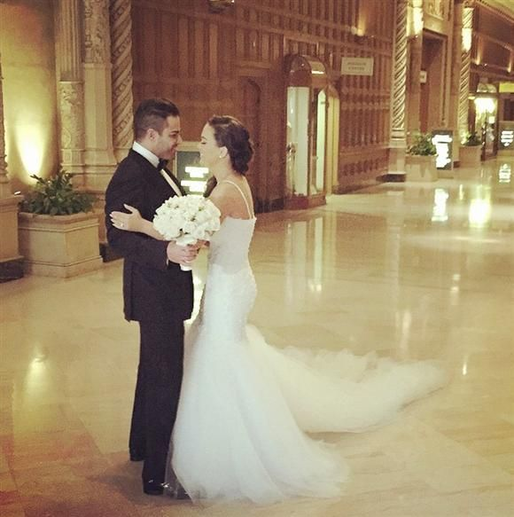 """""""Shahs of Sunset"""" star Mike Shouhed and fiancée Jessica Parido exchanged vows at the Biltmore Hotel in Los Angeles on March 29, 2015, nine months after he proposed during a skydiving excursion."""