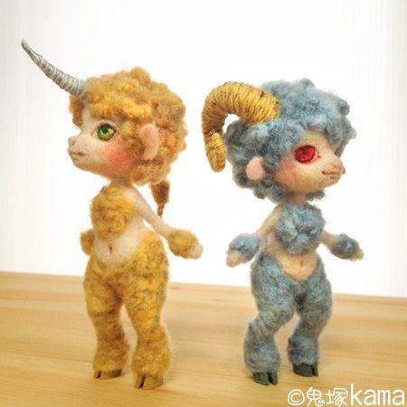 "Needle felted fantasy doll creations by hitsujiyadolls. ""Sheep kid"" - Half beast of sheep. ""Unicorn kid"" - Small unicorn half beast in the head and body."