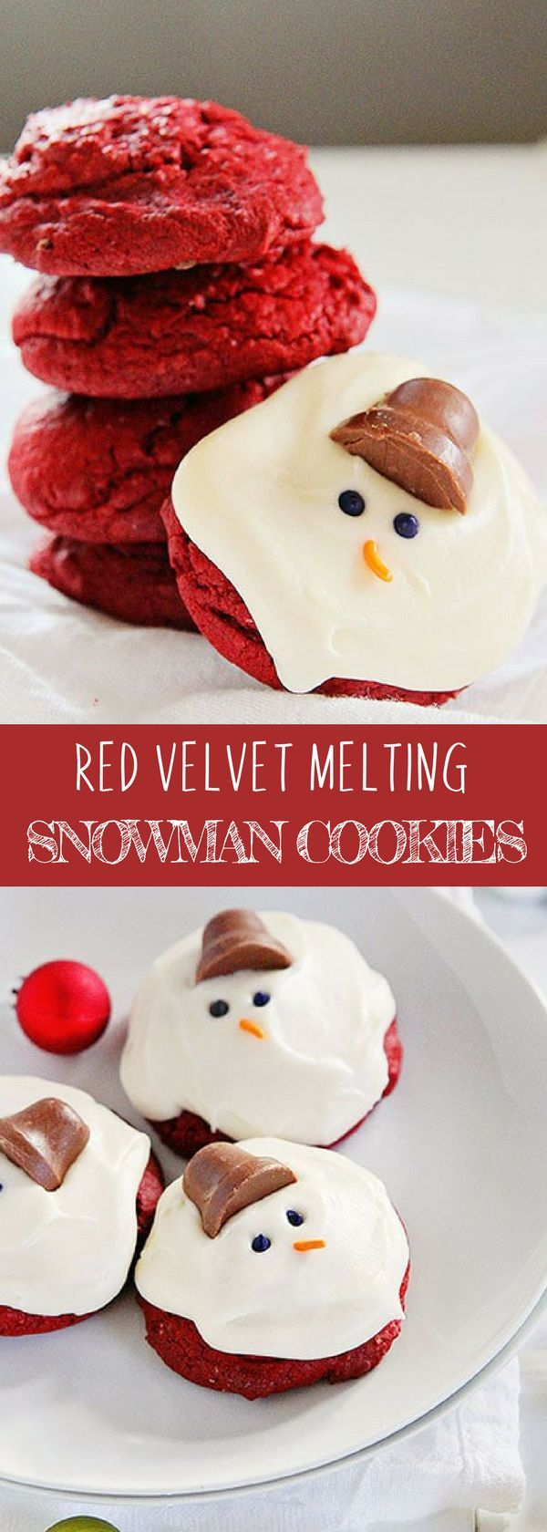 RED VELVET MELTING SNOWMAN COOKIES | It's an easy and yummy cookies perfect for winter added with Perfect Cream Cheese frosting. For more simple and easy dessert recipes to make, check us out at #iambaker. #cookies #foodlover #desserts #yummydesserts #recipeoftheday