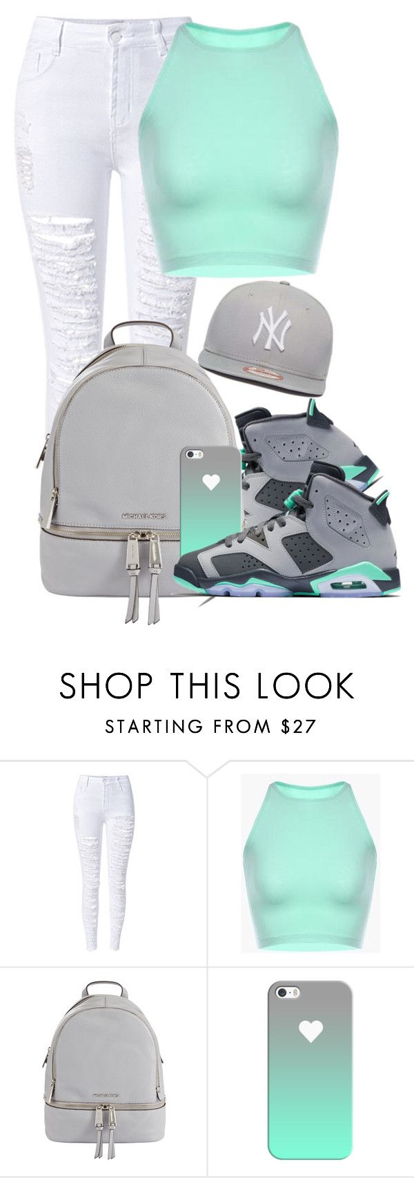 """""""Dope Swag 2016"""" by bxby-girl-rielle ❤ liked on Polyvore featuring WithChic, MICHAEL Michael Kors, Casetify and New Era"""