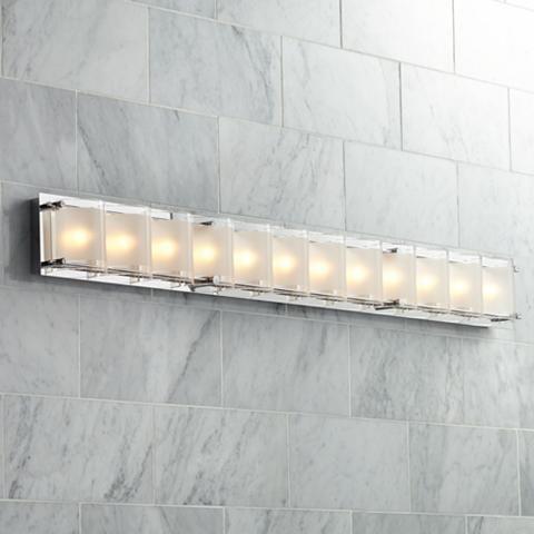 A bold, geometric bath light fixture to illuminate your contemporary bath or vanity area.